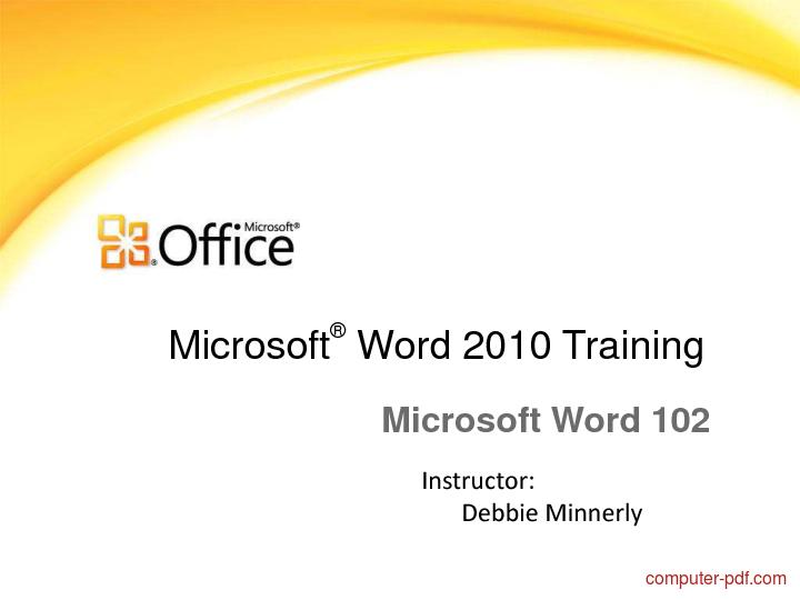Tutorial Word 2010 Training 1