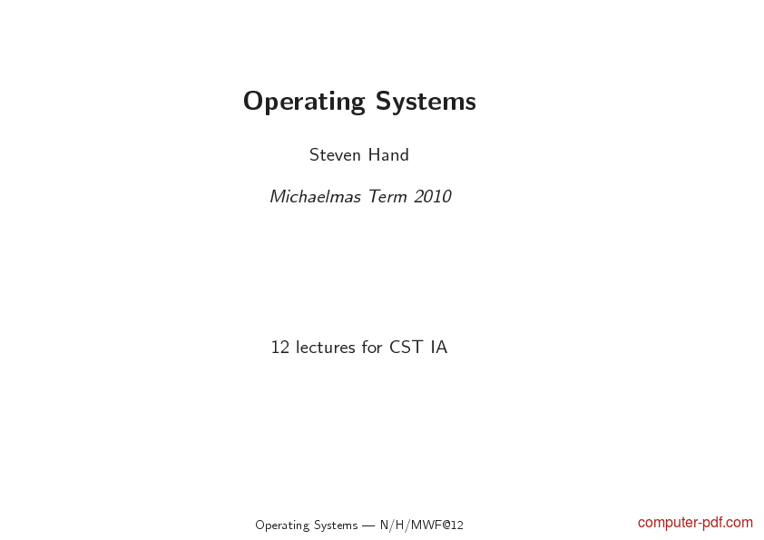Tutorial Operating Systems 1