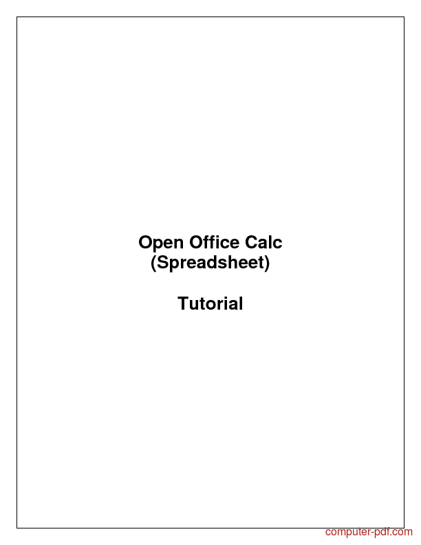 PDF] Open Office Calc (Spreadsheet) free tutorial for Beginners