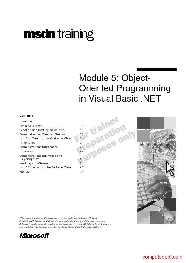 PDF] OOP in Visual Basic  NET free tutorial for Beginners