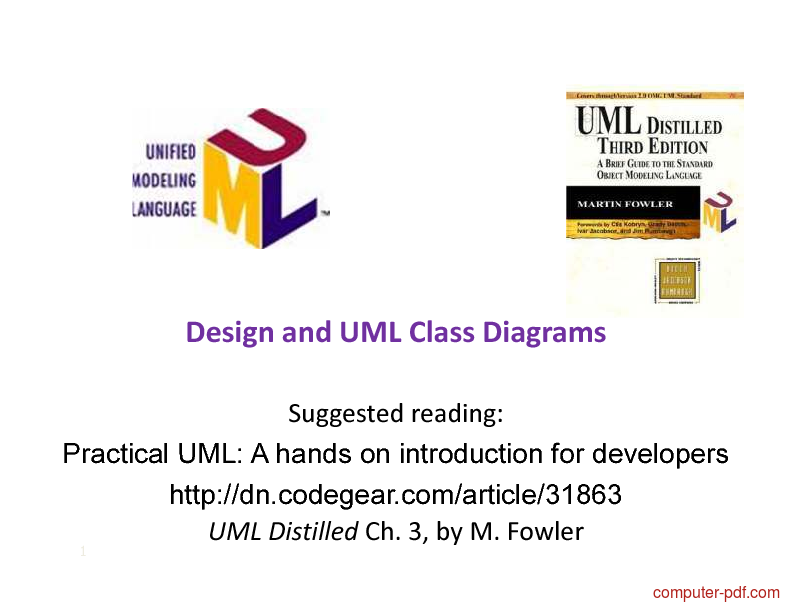 Tutorial Design and UML Class Diagrams 1