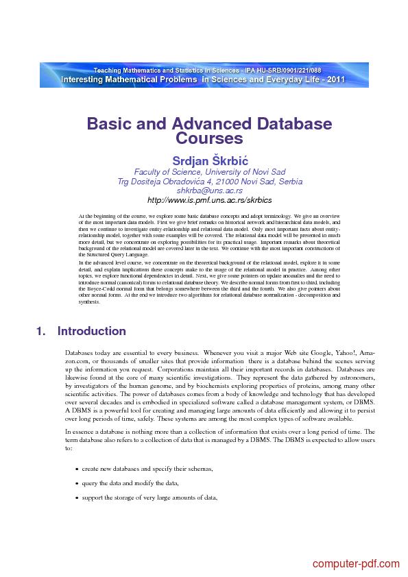 Tutorial Basic and Advanced Database 1