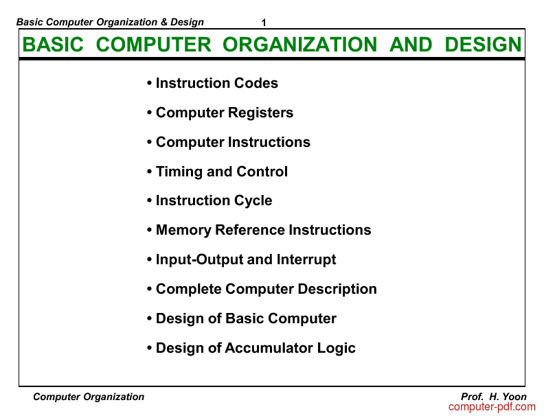 Pdf Basic Computer Organization Design Free Tutorial For Beginners