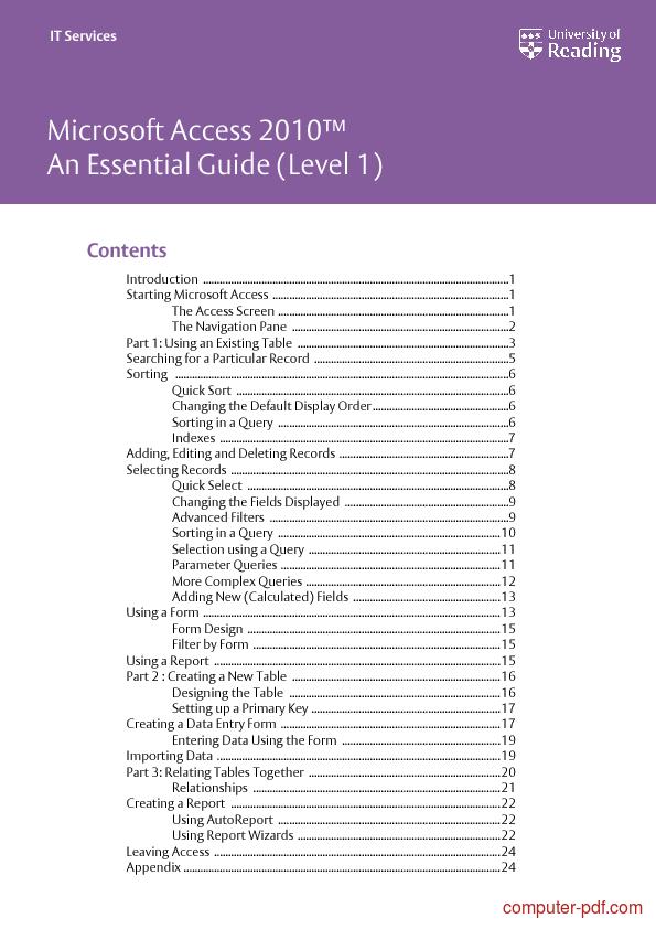Access 2010 pdf tutorials javascript