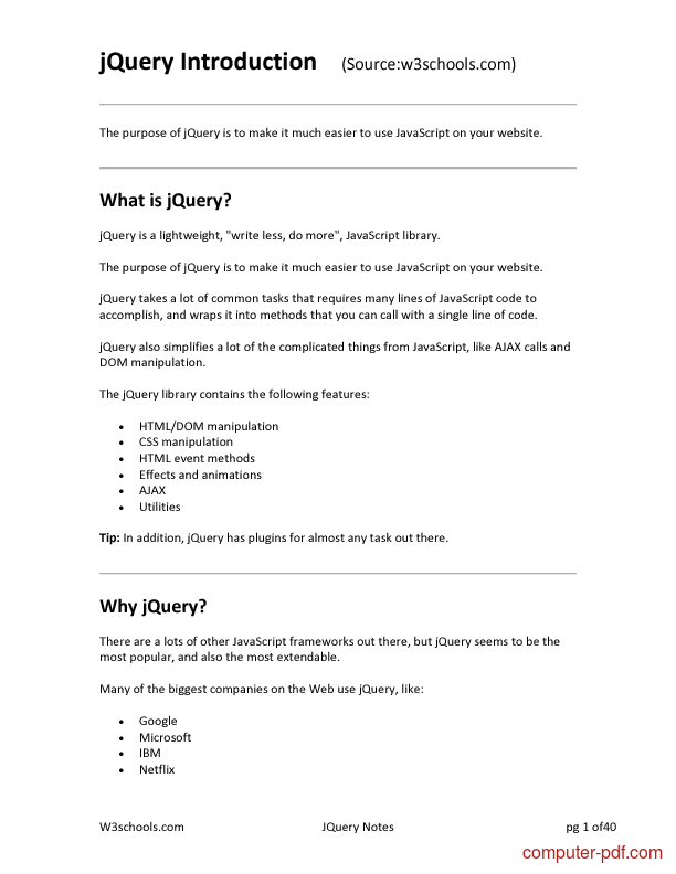 Pdf Jquery Notes Free Tutorial For Intermediate
