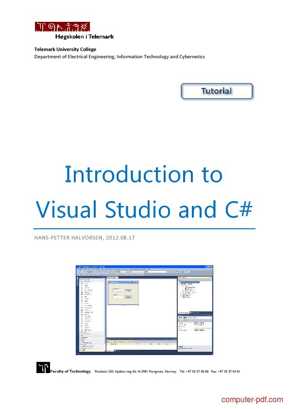 Microsoft Visual Studio 2010 Tutorial Pdf Free Download