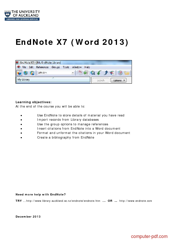 Is endnote X6 compatible with Word 2013