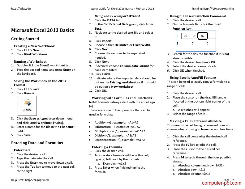 course Quick Guide for Excel 2013 Basics