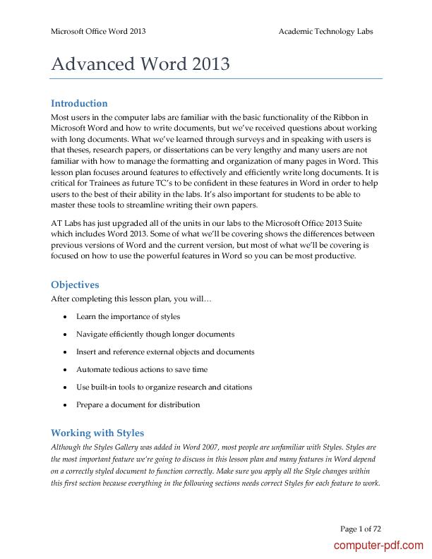 PDF] Word 2013 free tutorial for Advanced