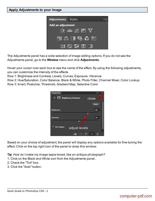 course Quick Guide to Photoshop CS6