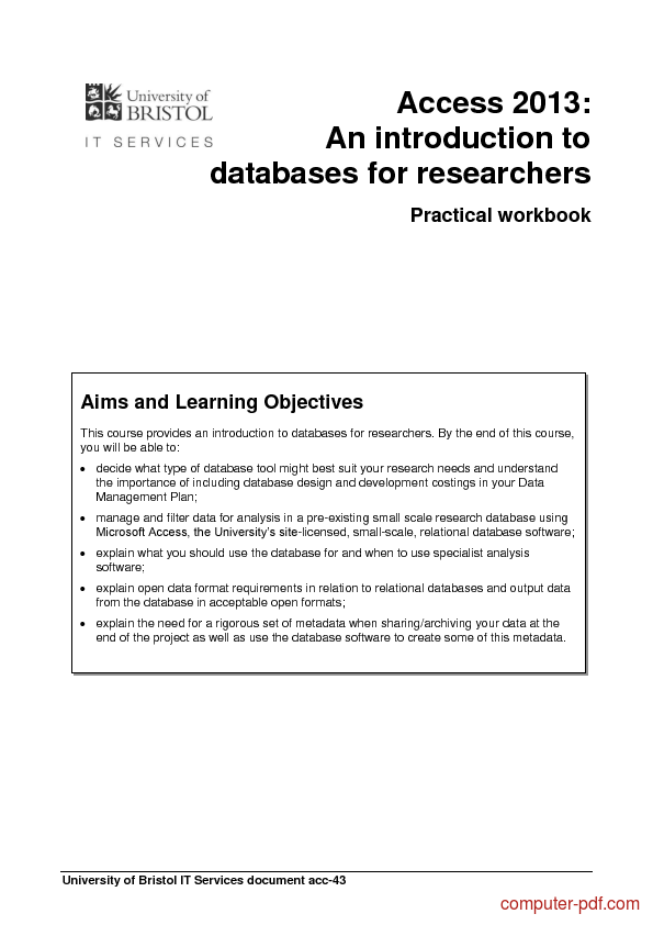 Tutorial Access 2013: databases for researchers 1