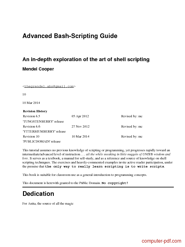 Advanced Bash Shell Scripting Guide (pdf)