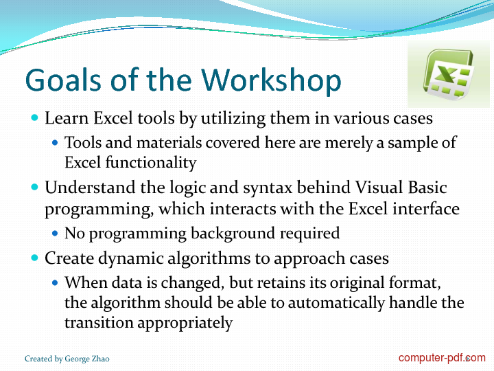 Tutorial Excel Analytics and Programming 2