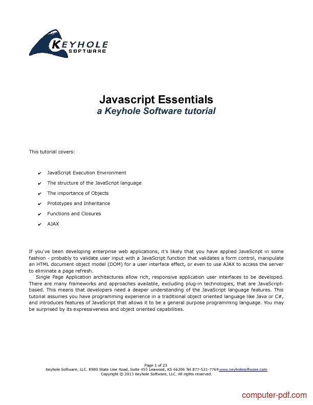 Free javascript tutorial in pdf