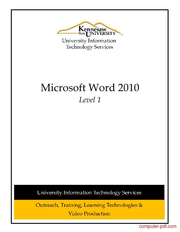 Tutorial Microsoft Word 2010 Level 1 1