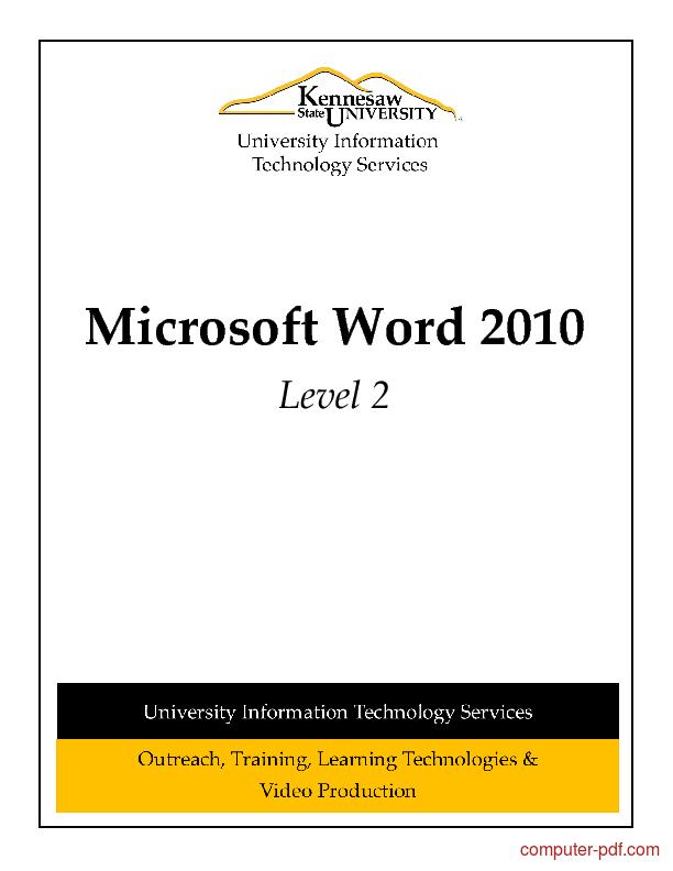 Tutorial Microsoft Word 2010 Level 2 1