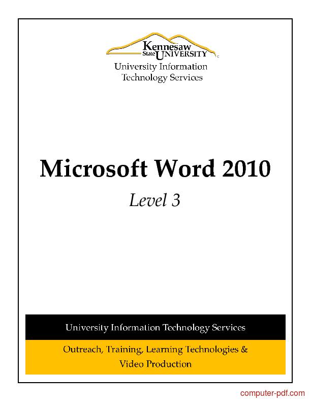 Tutorial Microsoft Word 2010 Level 3