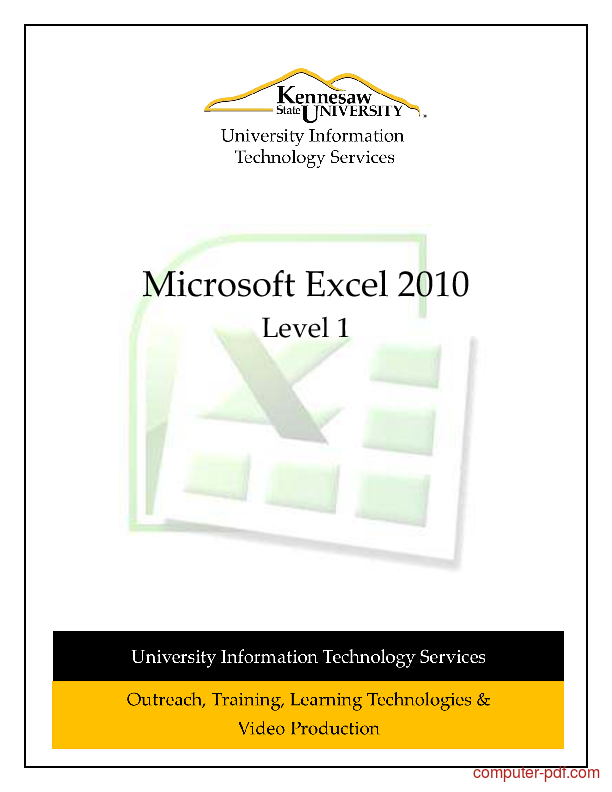 PDF] Microsoft Excel 2010 Level 1 free tutorial for Beginners