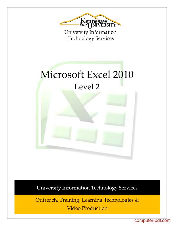 Tutorial Microsoft Excel 2010 Level 2 1