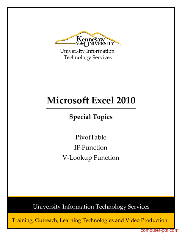 pdf excel 2010 pivottable if vlookup functions free tutorial for