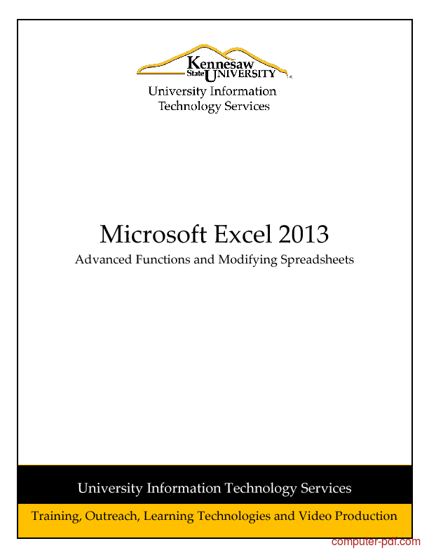 Tutorial Excel 2013: Advanced Functions and Modifying Spreadsheets 1