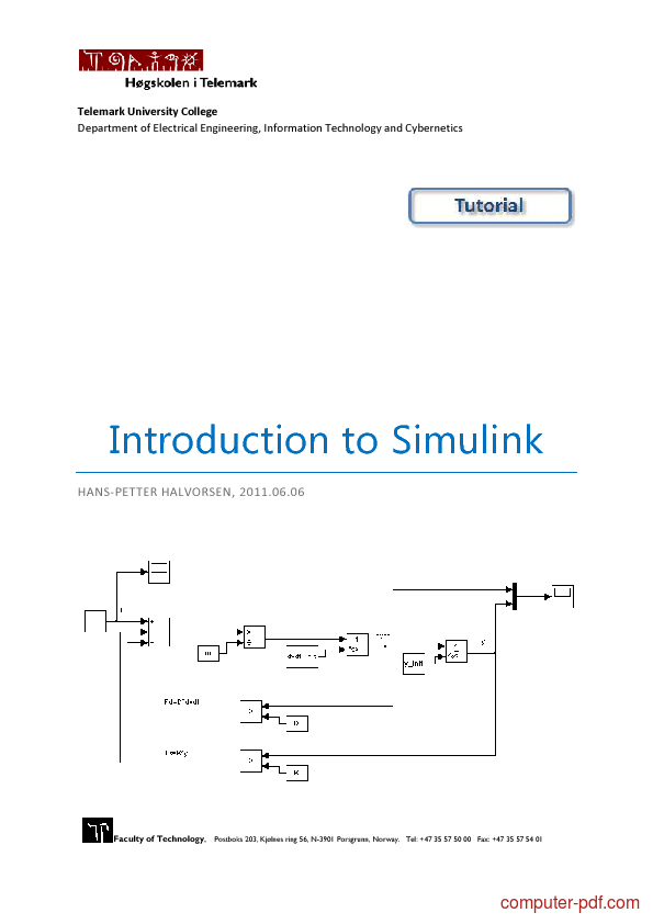 PDF] Introduction to Simulink free tutorial for Beginners
