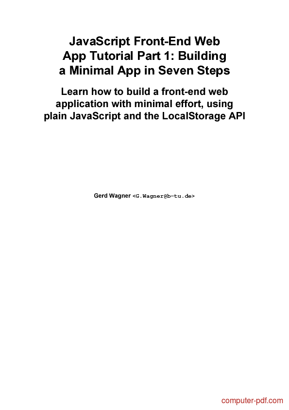 PDF] JavaScript FrontEnd Web App Part 1 free tutorial for