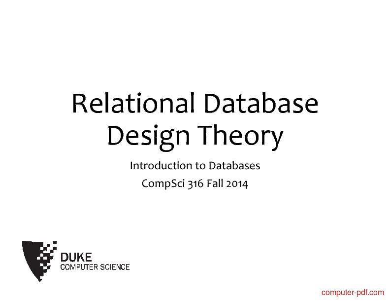Tutorial Relational Database Design Theory 1