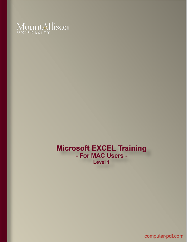 Tutorial EXCEL Training - For MAC Users - level 1 1