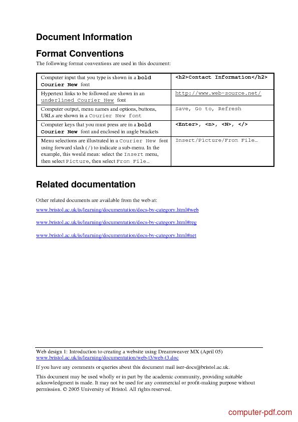 course Creating a website using Dreamweaver MX