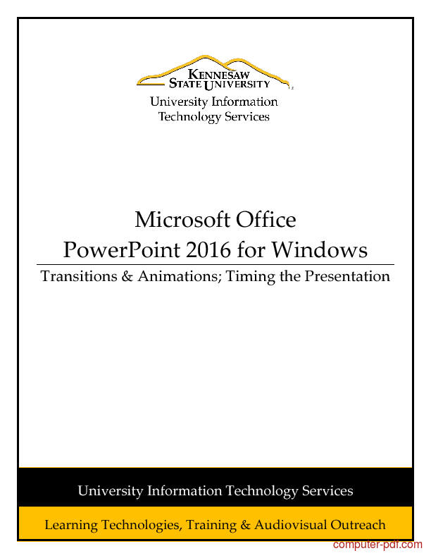 [PDF] PowerPoint 2016 Transitions & Animations; Timing the ...