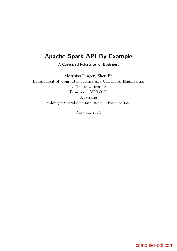 PDF] Apache Spark API By Example free tutorial for Beginners