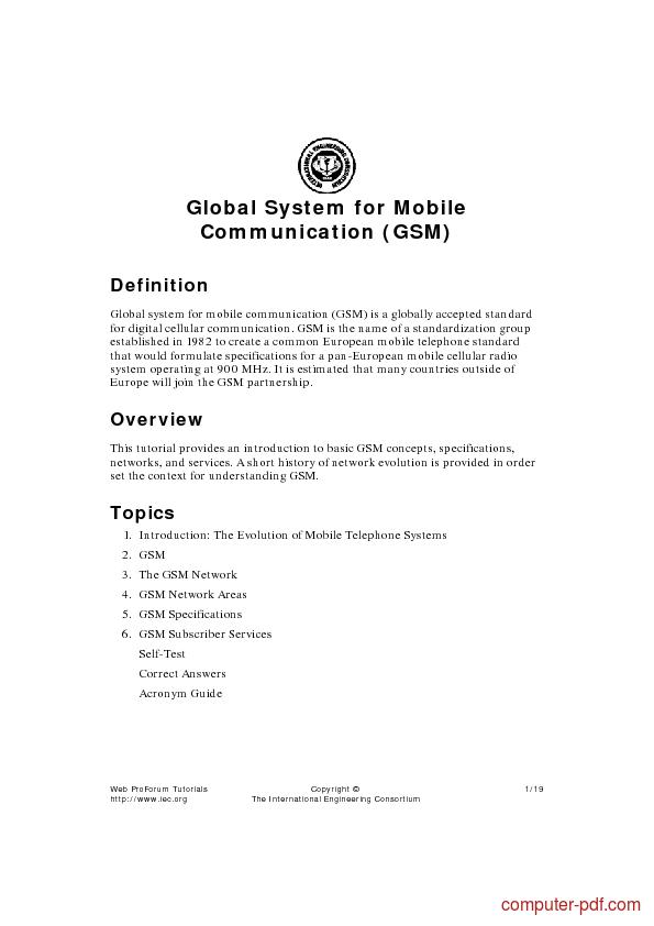 Tutorial Global System for Mobile Communication (GSM) 1