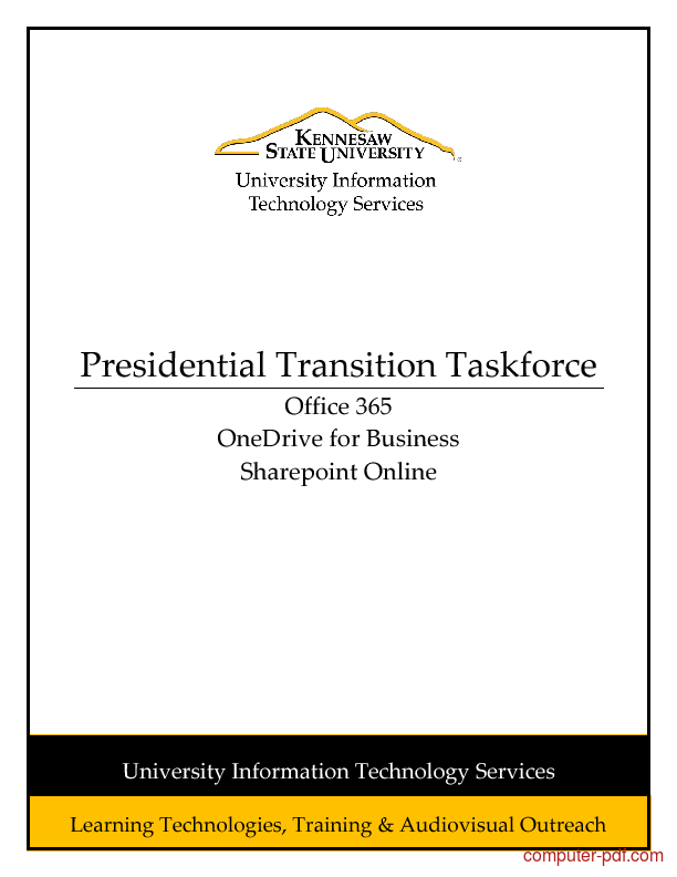Tutorial Presidential Transition Taskforce - Office 365 Guide 1