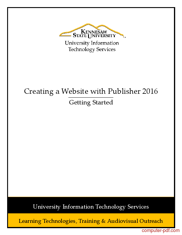 Tutorial Creating a Website with Publisher 2016 1
