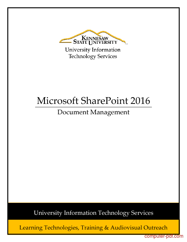 Tutorial Microsoft SharePoint 2016: Document Management 1