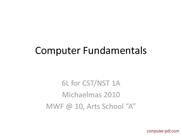 Tutorial Computer Fundamentals 1