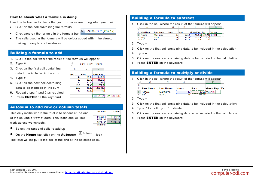 Tutorial Excel Formula & Functions Quick Reference 2
