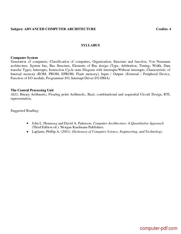 Tutorial Advanced Computer Architecture 2