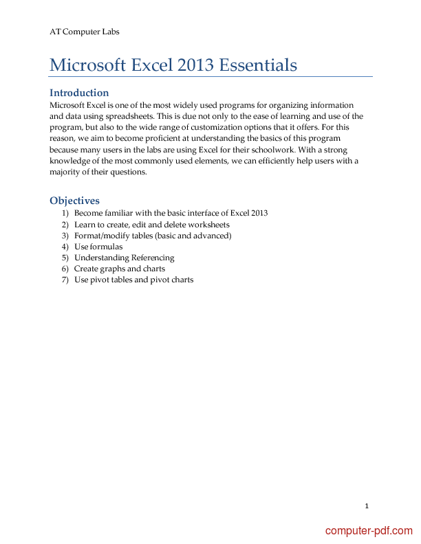 Tutorial Microsoft Excel 2013 Essentials 1