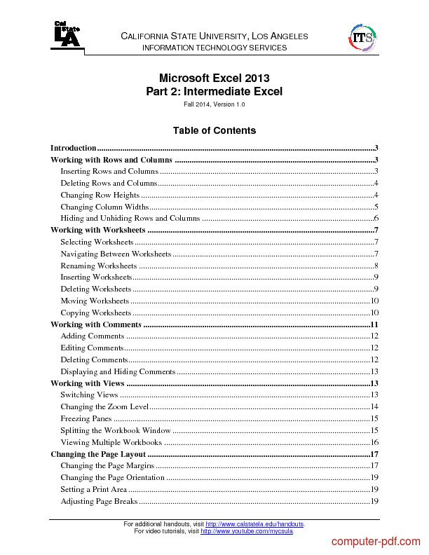 PDF] Microsoft Excel 2013 Part 2 free tutorial for Intermediate