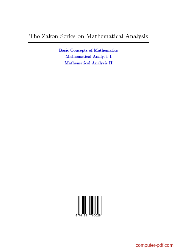 PDF] Mathematical Analysis (Volume I) free tutorial for