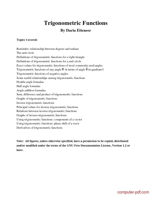 Tutorial Basic Trigonometric Functions