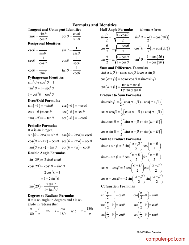 Tutorial Trigonometry - Trig Cheat Sheet  2