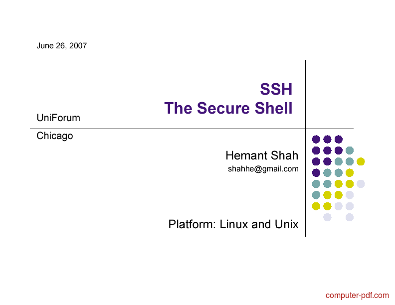 Tutorial SSH The Secure Shell 1