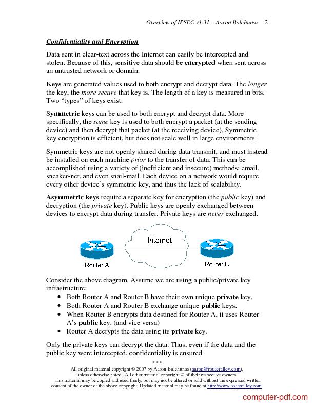 Tutorial Overview of IPSEC 2