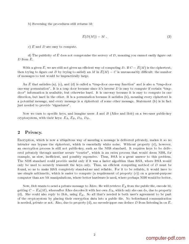 Tutorial The RSA Algorithm 2