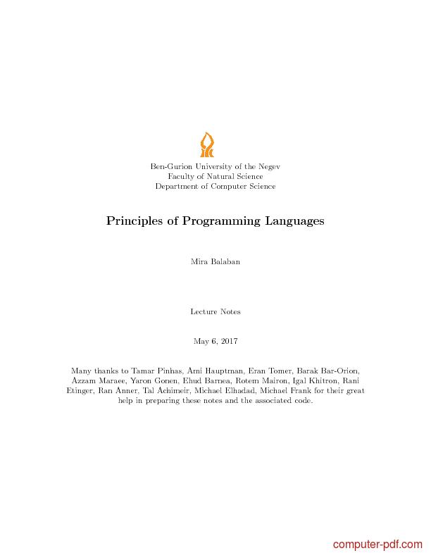 Tutorial Principles of Programming Languages 1