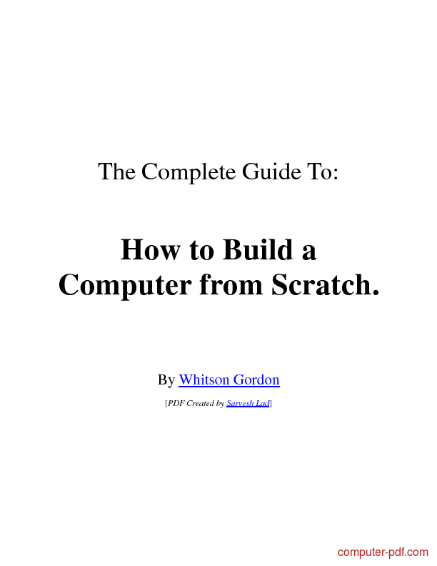 Tutorial How to Build a Computer from Scratch 1
