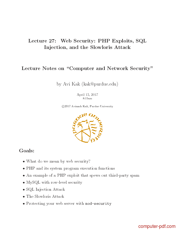 Tutorial Web Security: PHP Exploits, SQL Injection, and the Slowloris Attack 1